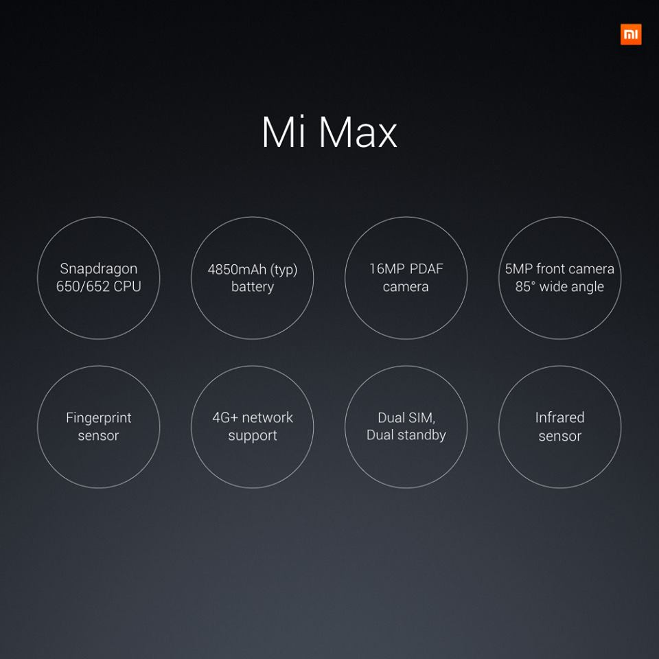 Xiaomi Mi Max, Daten, Display 6,44 , Kamera 16MP, Touch ID MIUI 8