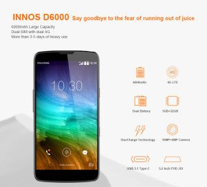 INNOS D6000 –  XXL Akku 6000mAh + Qualcomm Snapdragon 615 + 5.2 Zoll Full HD