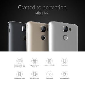 Mlais M7 Plus – günstiges China-Smartphone in 5.5″ mit Fingerabdruck Scanner, 3GB RAM , 13MP Sony Kamera Sensor