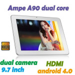 AMPE A90 9.7 Zoll 3G XGA Phone Tablet PC mit Android 4.2, MTK8382 Quad Core 1.3GHz, 512MB RAM, 8GB Speicher, 5MP+2MP Kameras, 8.500mAh Akku