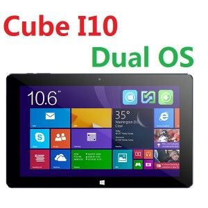 Cube I10 10.6 Zoll Dual Boot WXGA Tablet PC mit Android 4.4 + Windows 10, Intel Z3735 Quad Core 1.8GHz, 2GB RAM, 32GB Speicher, 2MP+0.2MP Kameras, 6.600mAh Akku