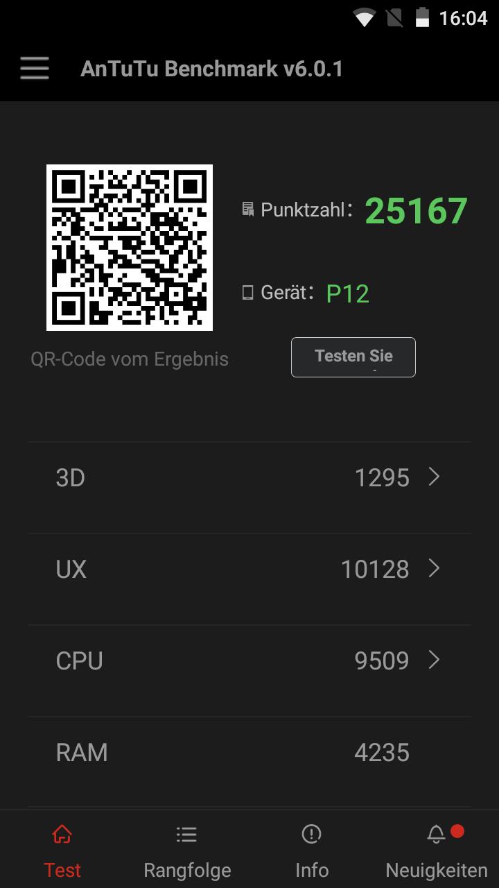 Antutu Cubot P12, China Smartphone